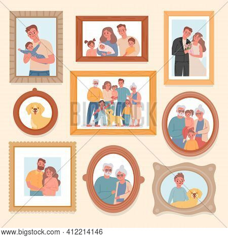 Family Photos. Parents And Kids Portrait In Frames. Memory Pictures With Wedding, Grandparents, Newb