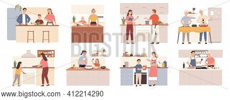 Family Cooking At Home. Parents, Grandparents And Kids Preparing Food For Dinner, Bake Cookies And C