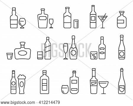 Alcohol Drinks Line Icons. Outline Bottles And Glasses With Beer, Wine And Bar Cocktails. Pub Menu S