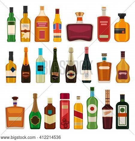 Alcohol Drinks In Bottles. Flat Whiskey, Liquor, Beer In Glass Bottle. Cartoon Bar Cocktail Beverage