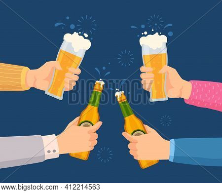 Cheers With Beer Glasses. Hands Holding Glass And Bottles With Alcohol Drinks. Friends Toast On Pub