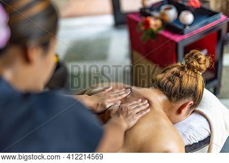 October.12.2019, Noonu Atoll, Maldives Islands: Body Care. Spa Body Massage Treatment. Woman Having