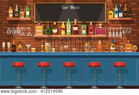 Bar Counter. Pub Or Nightclub Interior With Table And Chairs. Bottles And Glasses With Alcoholic Dri