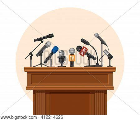 Press Conference Podium. Tribune For Debate Speaker With Journalist Microphone. Platform For Intervi