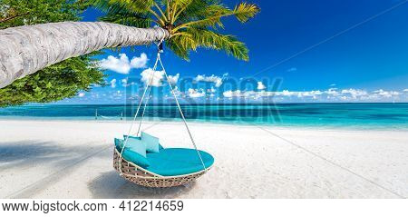 Panoramic Beach Paradise As Tropical Summer Landscape With Beach Swing Or Hammock And White Sand, Ca