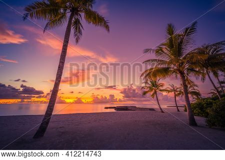 Landscape Of Paradise Tropical Island Beach, Sunrise Sunset. Tranquil Beach Scene With Palm Trees An