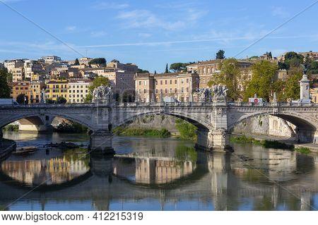 Rome, Italy - October 9, 2020: Vittorio Emanuele Ii Bridge (ponte Vittorio Emanuele Ii) Across The T