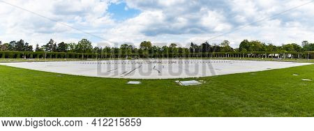 Wroclaw, Poland - May 13 2020: Wide Panorama Of Fountain Near Pergola And Old Centennial Hall