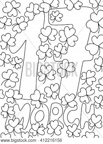 17 March Lettering With Shamrocks Vertical Coloring Page For Kids Stock Vector Illustration. Happy S