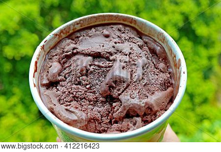 Closeup A Cup Of Mouthwatering Dark Chocolate Ice Cream Against Blurry Green Garden