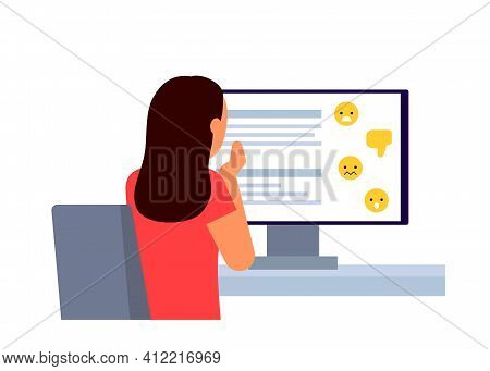 Scared Young Girl Sitting Online Social Media In Front Of Computer Back View, And See Bully, Dislike