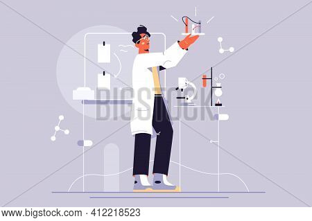 Scientist Guy Makes Discovery Vector Illustration. Professional Scientist Chemical Researchers Work