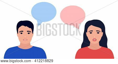 Sad And Anxious Couple Man And Woman, Think Of Trouble, Crisis In Family. Anxiety, Depression, Stres