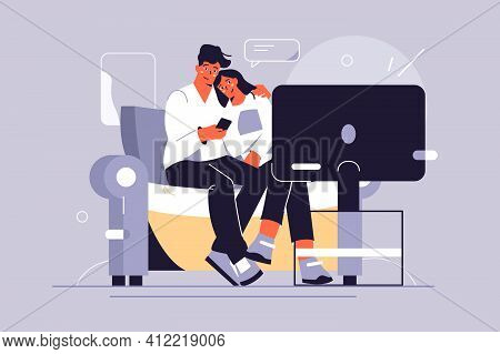 Couple Watching Tv Show Vector Illustration. Man And Woman Hugging On Sofa On Spare Time Flat Style.