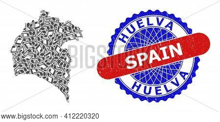 Music Notation Collage For Huelva Province Map And Bicolor Textured Rubber Stamp