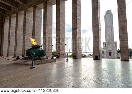 Rosario, Argentina - March 12, 2021: Eternal Flame In The Triumphal Propylaea Of the Homeland And