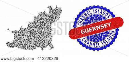 Musical Pattern For Guernsey Island Map And Bicolor Textured Stamp