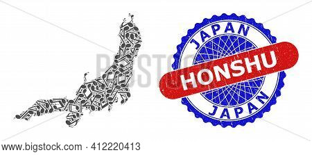Musical Mosaic For Honshu Island Map And Bicolor Distress Stamp Badge