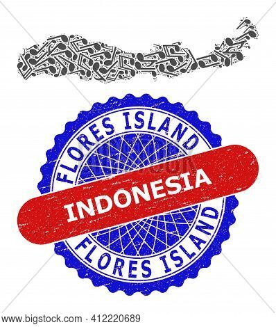 Melody Notes Pattern For Flores Island Of Indonesia Map And Bicolor Grunge Rubber Stamp