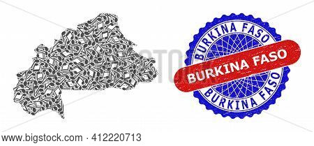 Melody Notes Collage For Burkina Faso Map And Bicolor Distress Seal