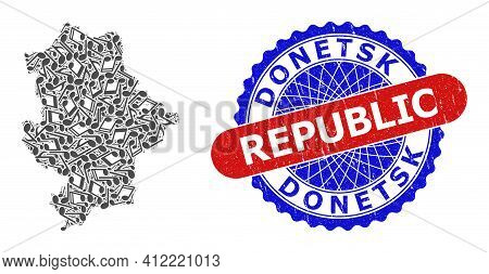 Music Notes Mosaic For Donetsk Republic Map And Bicolor Textured Stamp