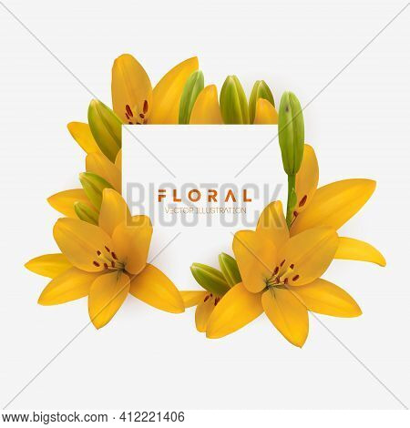 Yellow Lily Flower Bouquet Isolated. Vector Illustration Of Yellow Lilies Isolated On White Backgrou