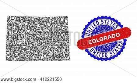 Music Notation Collage For Colorado State Map And Bicolor Textured Seal Stamp
