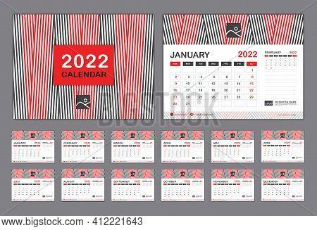 Calendar 2022 Template Vector, Set Desk Calendar 2022 Template, New Year Calendar 2022 In A Minimal