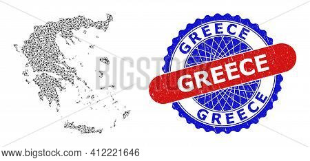 Music Notation Collage For Greece Map And Bicolor Grunge Rubber Stamp