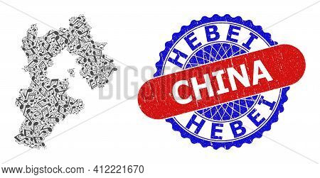 Music Notation Collage For Hebei Province Map And Bicolor Textured Stamp Badge