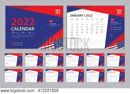Set Desk Calendar 2022 Design, Calendar 2022 Template, Set Of 12 Calendar Pages  With Blue Cover Des