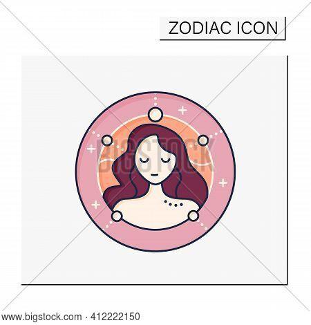 Virgo Color Icon. Sixth Fire Sign In Zodiac. Female Woman Birth Symbol. Mystic Horoscope Sign. Astro
