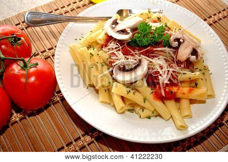 Ziti with Tomato Sauce, Cheese, Mushrooms and Parsley
