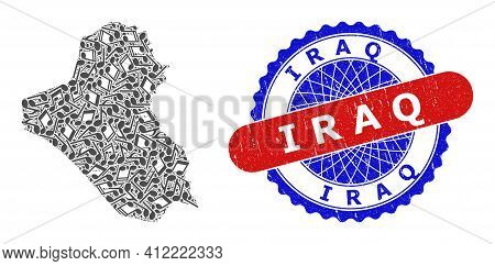 Music Notation Collage For Iraq Map And Bicolor Scratched Seal