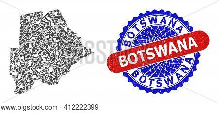 Music Notes Mosaic For Botswana Map And Bicolor Grunge Rubber Stamp