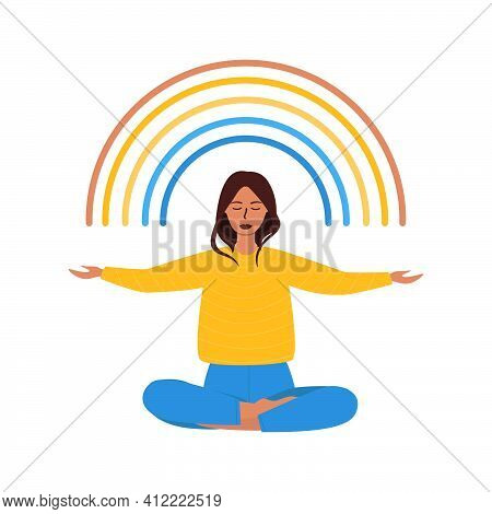 Flat Vector Cartoon Illustration Of A Woman Sitting In A Lotus Position And Opening Her Arms To Meet