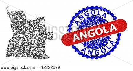 Melody Notes Pattern For Angola Map And Bicolor Scratched Seal Stamp