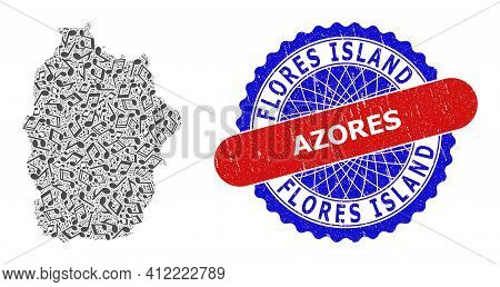 Music Notes Pattern For Flores Island Of Azores Map And Bicolor Grunge Rubber Stamp