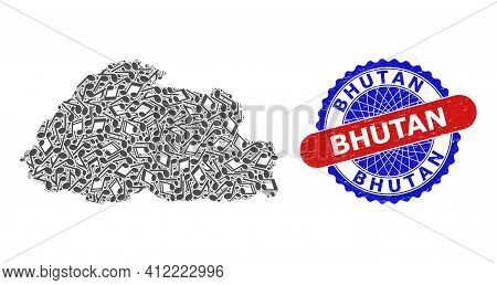 Music Notation Pattern For Bhutan Map And Bicolor Textured Stamp Badge