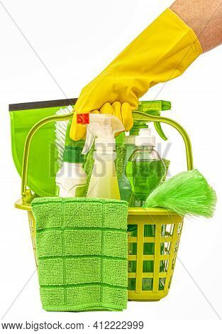 Vertical Shot Of Green Cleaning Supplies For Pandemic Cleaning.  This Is A Revised Image.