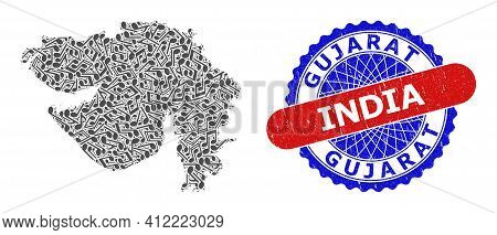 Music Notes Mosaic For Gujarat State Map And Bicolor Distress Stamp