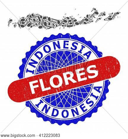 Music Notation Pattern For Flores Islands Of Indonesia Map And Bicolor Grunge Rubber Stamp