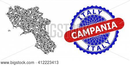 Music Notation Pattern For Campania Region Map And Bicolor Distress Seal