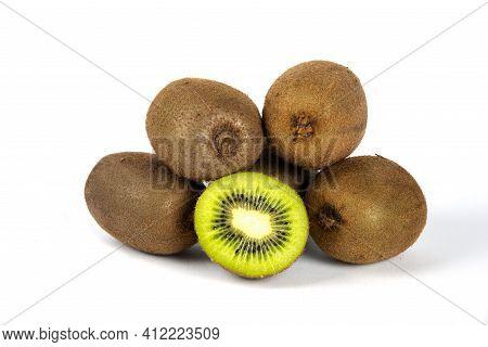 Tasty Whole Kiwi Fruit And Half Kiwi Fruit Isolated On White Background