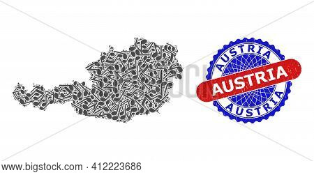 Music Notation Collage For Austria Map And Bicolor Textured Seal