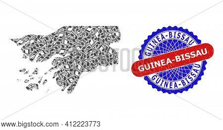 Music Notation Mosaic For Guinea-bissau Map And Bicolor Scratched Seal Stamp