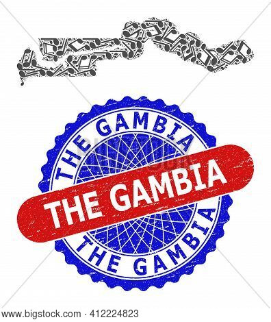 Music Pattern For The Gambia Map And Bicolor Grunge Seal Stamp