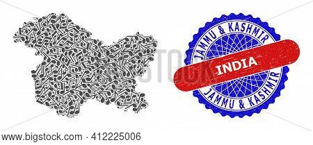 Music Collage For Jammu And Kashmir State Map And Bicolor Grunge Seal