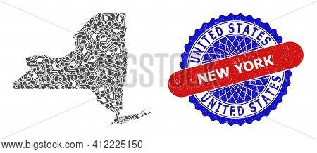 Music Notation Pattern For New York State Map And Bicolor Scratched Stamp Badge