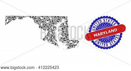 Musical Collage For Maryland State Map And Bicolor Textured Rubber Stamp